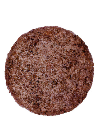 Fried fresh large beef burger isolated on white background