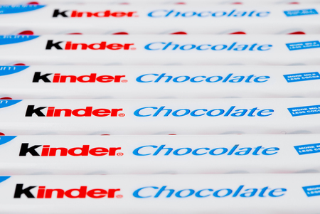 LONDON, UK - November 17, 2017: Kinder chocolate bars on white background.Kinder bars are produced by Ferrero founded in 1946. Editorial