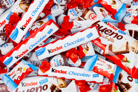 LONDON, UK - November 17, 2017: Kinder chocolate different mixon white background.Kinder bars are produced by Ferrero founded in 1946. Editöryel