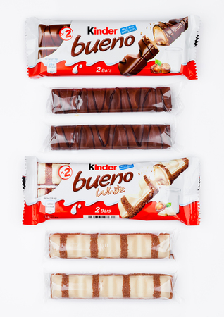 LONDON, UK - November 17, 2017: Kinder chocolate bueno on white background.Kinder bars are produced by Ferrero founded in 1946.