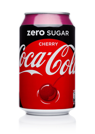 LONDON, UK - November 17, 2017: Aluminium can of Zero sugar Cherry Coca-Cola on white Background. Coca-Cola is one of the most popular soda products in the world. Editorial