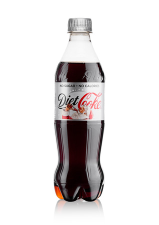 LONDON, UK - November 17, 2017: Bottle of Diet Coca-Cola on White Background christmas edition. Coca-Cola is one of the most popular soda products in the world. Editorial