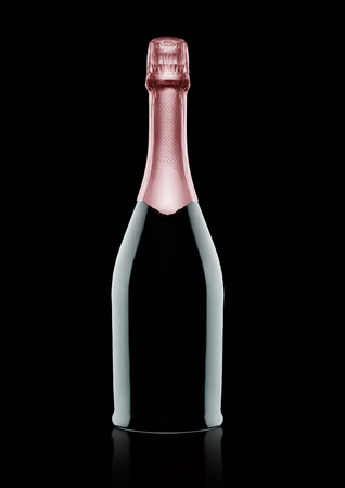 Bottle of pink rose champagne on black background with reflection Stock Photo