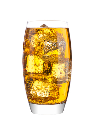 Glass of energy carbonated soda drink with ice on white background Foto de archivo