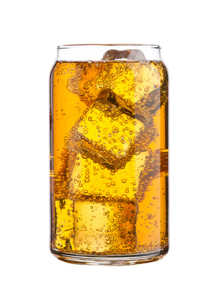 Glass of energy carbonated soda drink with ice on white background Banco de Imagens