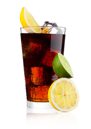 Glass of cold cola soda drink with lime and lemon on white background Stock Photo