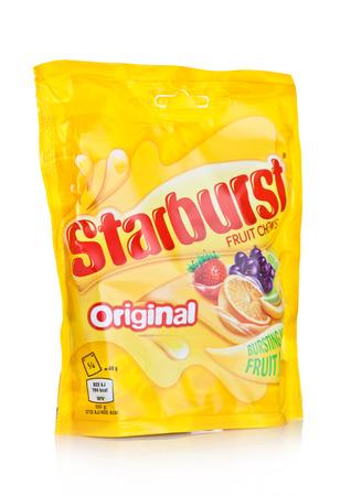 LONDON, UK -DECEMBER 07, 2017:  Starburst candy fruit chews pack on white background.