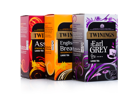 LONDON, UK - JANUARY 02, 2018: Twinings tea boxes on white background.Twinings was founded in 1706 in London. Editorial