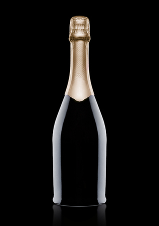 Bottle of champagne with yellow foil on blackbackground with reflection