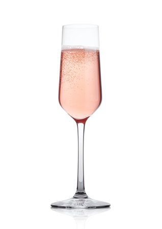 Rose pink champagne glass with bubbles isolated on white background