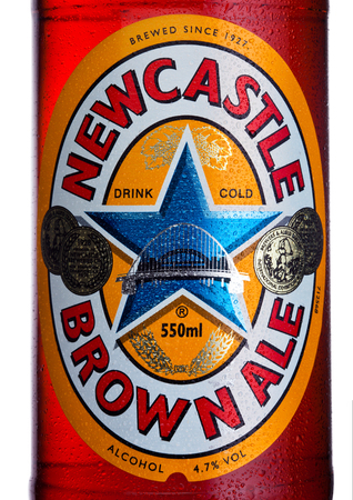 LONDON, UK - JANUARY 10, 2018: Bottle label of Newcastle Brown craft ale beer on white background