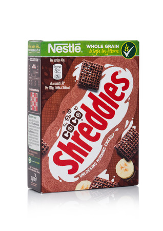 LONDON, UK - JANUARY 10, 2018: Pack of Shreddles chocolate whole grain ceral for breakfast on white background.Product of Nestle