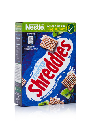 LONDON, UK - JANUARY 10, 2018: Pack of Shreddles frosted whole grain ceral for breakfast on white background.Product of Nestle
