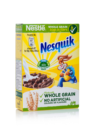 LONDON, UK - JANUARY 10, 2018: Pack of nesquik  whole grain ceral for breakfast on white background.Product of Nestle