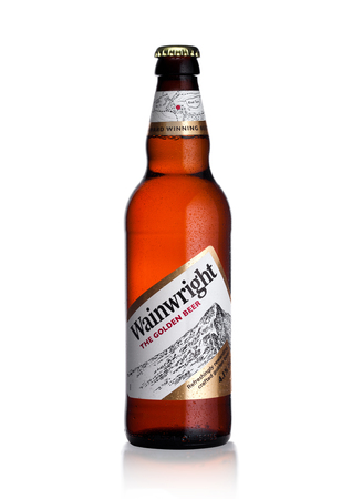 LONDON, UK - JANUARY 10, 2018: Cold Bottle of Wainwright golden beer on white .background Editorial