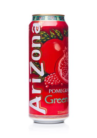 LONDON, UK - JANUARY 10, 2018: Aluminium can of Arizona Green tea pomegranate flavor soft drink on white background Editöryel