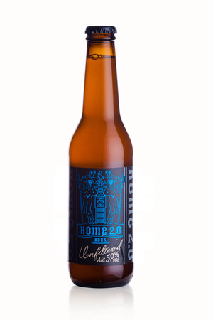 LONDON, UK - JANUARY 02, 2018: Bottle of Home 2.0 Lager craft beer on white background Editorial