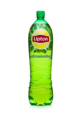 LONDON, UK - JANUARY 24, 2018: Plastic bottle of Lipton green ice tea on white background Editorial
