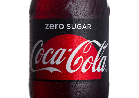 LONDON, UK - JANUARY 24, 2018: Bottle label of Zero  Coca-Cola on white Background. Coca-Cola is one of the most popular soda products in the world.