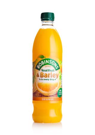 LONDON, UK - FEBRUARY 02, 2018: Bottle of Robinsons Fruit Juice with orange flavor on white background.