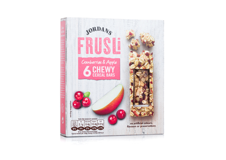 LONDON, UK - FEBRUARY 02, 2018: Box of Jordans fruit and nut cereal bars on white background. Editorial