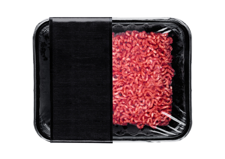 Plastic tray with raw fresh beef minced meat on white background