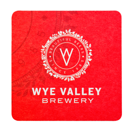 LONDON, UK - FEBRUARY 04, 2018: Wye Valley Brewery beermat coaster isolated on white background