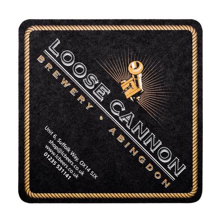 LONDON, UK - FEBRUARY 04, 2018: Loose cannon beermat coaster isolated on white background