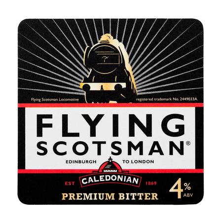 LONDON, UK - FEBRUARY 04, 2018: Flying Scotsman caledonian premium bitter beermat coaster isolated on white background