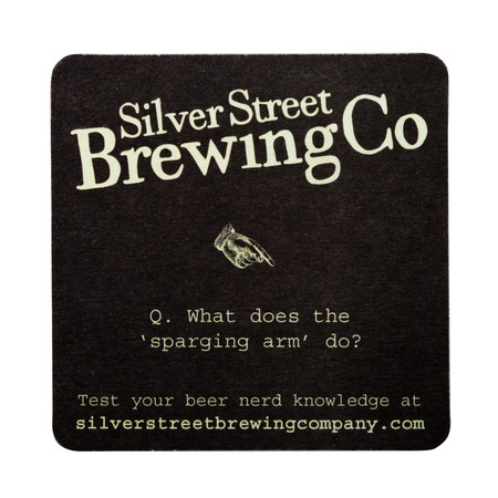 LONDON, UK - FEBRUARY 04, 2018: Silver Street Brewing Co original beermat coaster isolated on white background