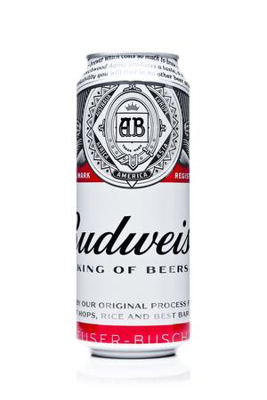 LONDON, UK - FEBRUARY 14, 2018: Aluminium can of Bidweiser beer on white background.