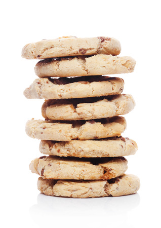 Sweet caramel oatmeeal gluten free cookies on white background