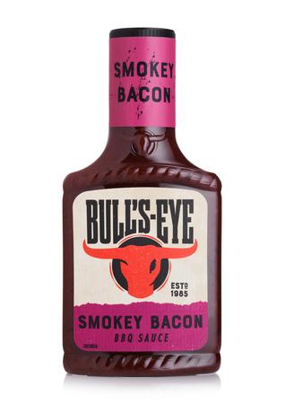 LONDON, UK - JULY 28, 2018: Plastic bottle of Bull's eye BBQ Smocked bacon Sauce on white background.