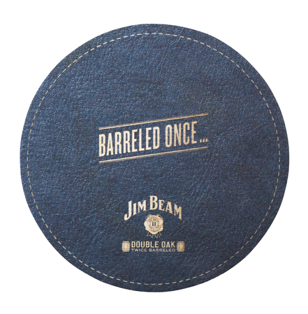 LONDON, UK - AUGUST 22, 2018: Jim Beam Bourbon original paper mat coaster isolated on white background. 報道画像