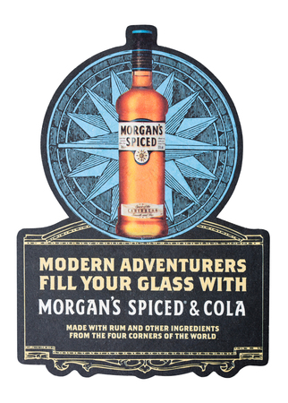 LONDON, UK - AUGUST 22, 2018: Morgan spiced rum vintage paper mat coaster isolated on white background. Editorial