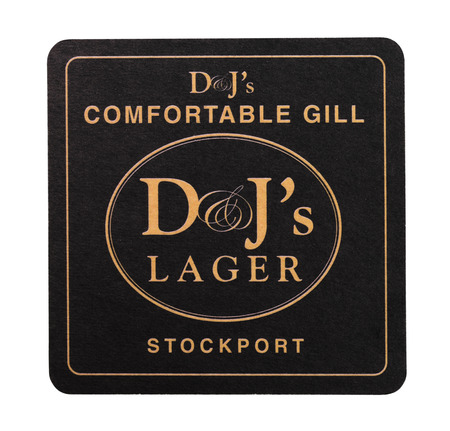LONDON, UK - AUGUST 22, 2018: DJs LAger paper beer beermat coaster isolated on white background. Editorial