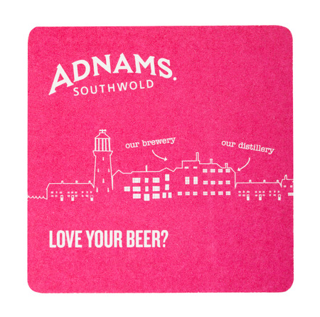 LONDON, UK - AUGUST 22, 2018: Adnams paper beer beermat coaster isolated on white background.