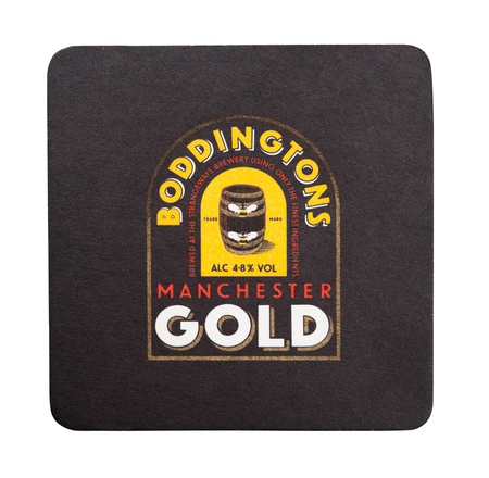 LONDON, UK - AUGUST 22, 2018: Boddingstons gold beer beermat coaster isolated on white background. Editorial