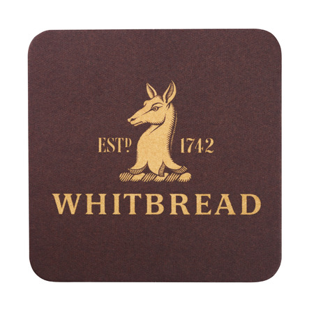 LONDON, UK - AUGUST 22, 2018: Whitbread paper beer beermat coaster isolated on white background.