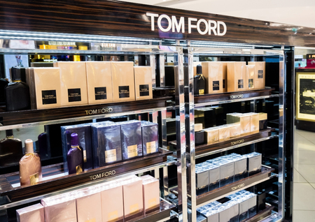 LONDON, UK - AUGUST 31, 2018: Tom Ford perfume and cosmetic luxury collection in boutique store. Elegant shop.