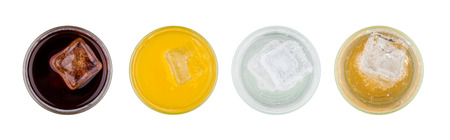 Orange cola lemonade energy soda drink top view on white background