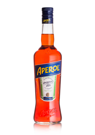 LONDON, UK - SEPTEMBER 03, 2018: Bottle of Aperol Aperitivo summer cocktail drink on white background. Editorial