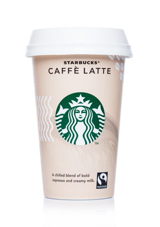 LONDON, UK - APRIL 15, 2019: Paper cup of Starbucks cold coffee. Caffe Latte on white.