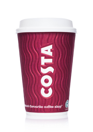 LONDON, UK - APRIL 15, 2019: Costa Coffee Paper Cup from the famous coffee shop chain with logo in the middle on white.