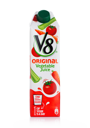 LONDON, UK - MAY 29, 2019: Pack of V8 Original Vegetable Juice on white.