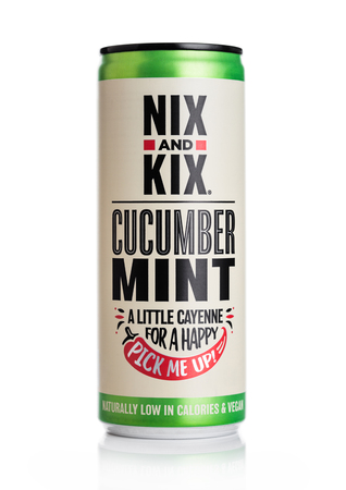 LONDON, UK - MAY 29, 2019: Aluminium can of NIX and KIX soda with cucumber and mint flavour on white. Editorial