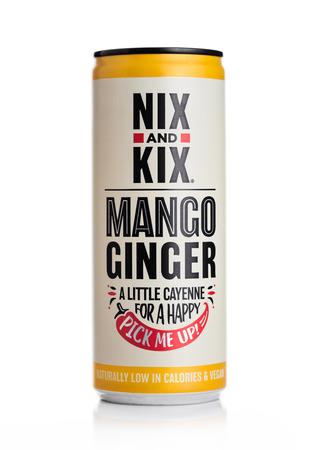 LONDON, UK - MAY 29, 2019: Aluminium can of NIX and KIX soda with mango and ginger flavour on white.