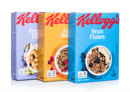 LONDON, UK - MAY 29, 2019: Various boxes of Kelloggs flakes, new edition of healthy food grain on white. Editorial