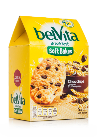 LONDON, UK - MAY 29, 2019: Pack of Belvita Breakfast soft bakes cookies with choco chips on white.