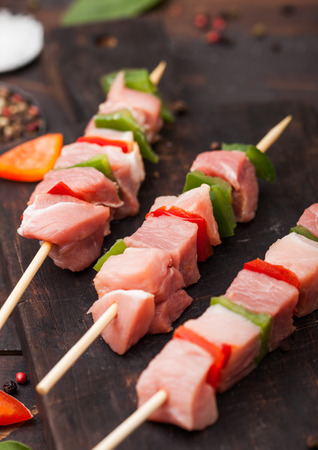 Raw pork and chicken kebab with paprika on chopping board with salt and pepper on wood. Reklamní fotografie